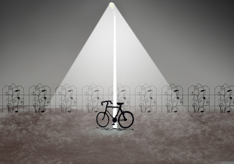 artwork of a bicycle under a street lamp at night