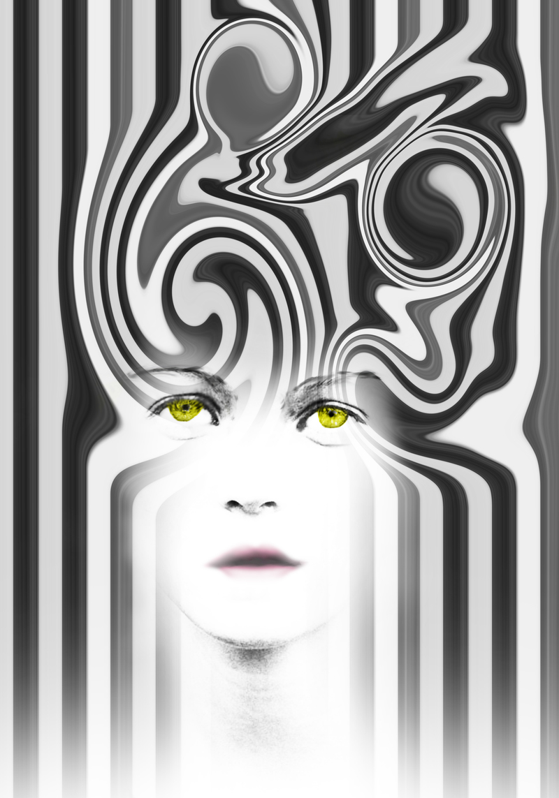 Abstract design of a womans face with yellow eyes
